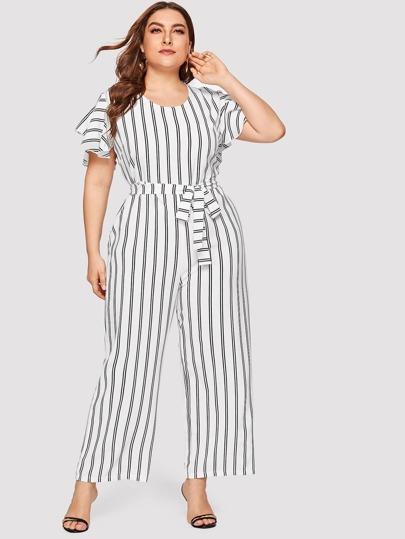 58fcb4ff29c4 Plus Self Tie Striped Jumpsuit