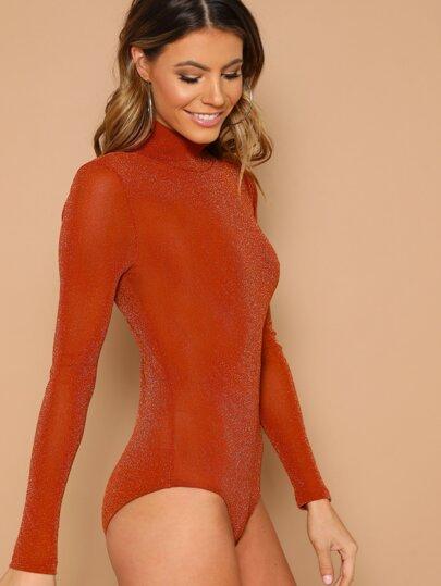 Neon Orange Form Fitted Glitter Bodysuit b11a3234a