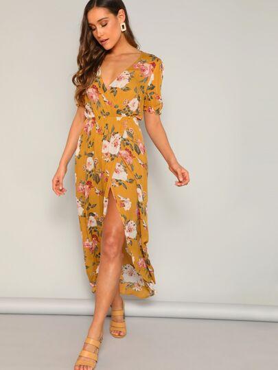 a925dea395 Flower Print Frilled Cuff Wrap Split Maxi Dress
