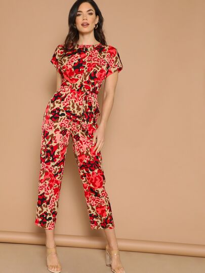 7b39155f33c Rolled Tab Sleeve Knot Front Leopard Jumpsuit