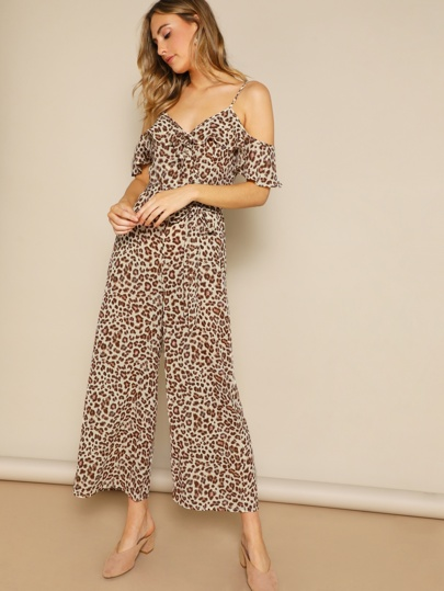 82677f43697b Cold Shoulder Ruffle Trim Leopard Palazzo Jumpsuit