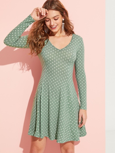 Dot Print V Neck Flare Dress