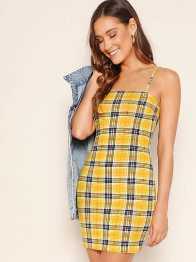 6fd9966ab7e69 Plaid Bodycon Cami Dress