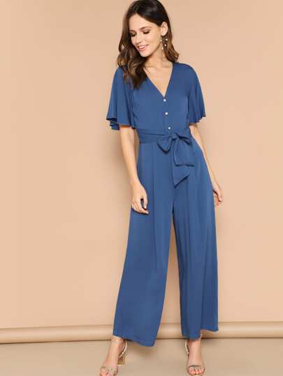 991fc44e219 Button Front Flutter Sleeve Belted Palazzo Jumpsuit