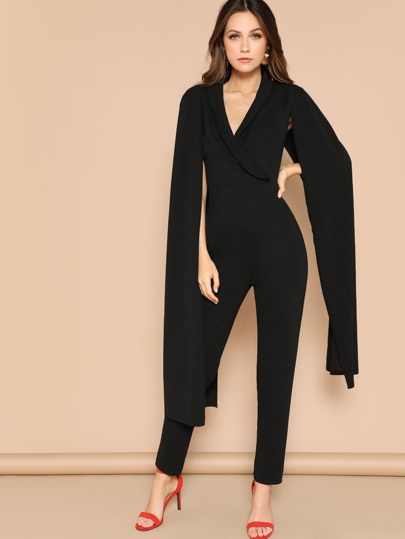 d984a0d2d0c Exaggerate Cape Sleeve Tailored Wrap Jumpsuit