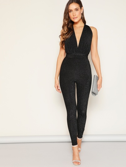 a5a601a4235 Deep V-neck Criss Cross Backless Glitter Jumpsuit