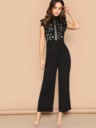 65dbfb49db1 Guipure Lace Bodice Wide Leg Jumpsuit