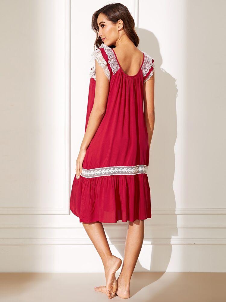 c53a2a219a Floral Lace Insert Knot Ruffle Hem Night Dress | SHEIN