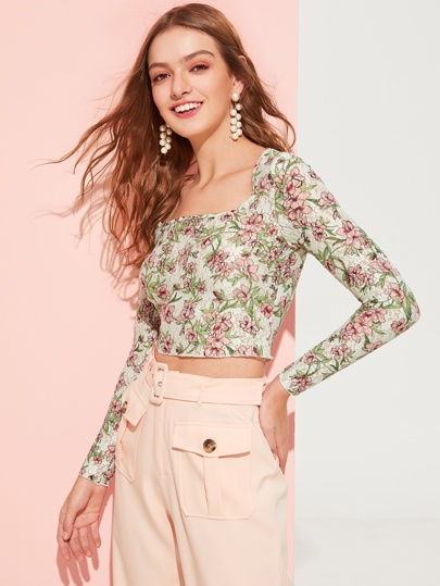 d03c89013cd113 Botanical Print Crop Fitted Top