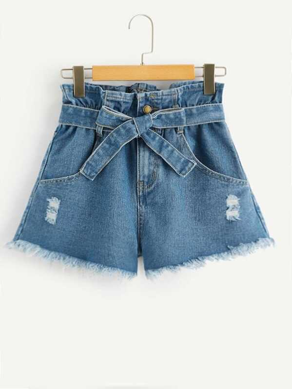 Ripped Detail Raw Hem Belted Denim Shorts
