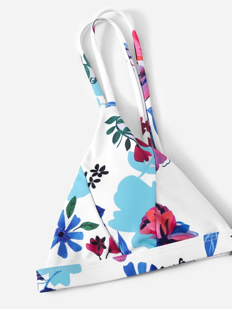 959bdb2aaf Random Floral Triangle Top With High Cut Bikini | SHEIN