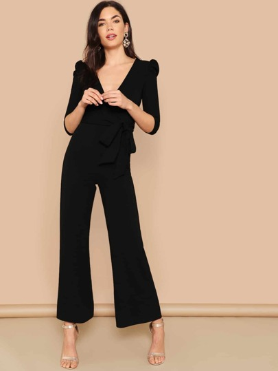 a13af8fd0f Puff Sleeve Surplice Wrap Palazzo Leg Jumpsuit