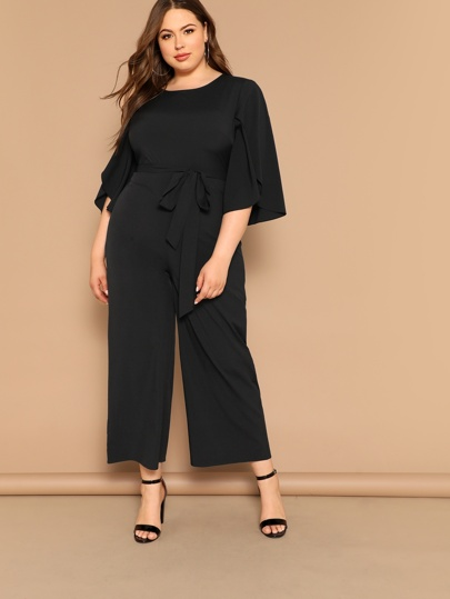 726528d7c3 Plus Slit Sleeve Belted Solid Jumpsuit
