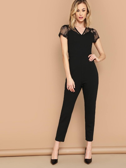 1fe7d66808 Mesh Yoke V Neck Solid Unitard Jumpsuit