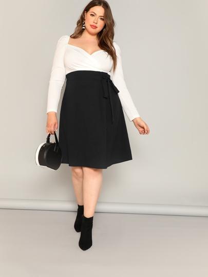 f1d4c2ebbaf Plus Size. SHEIN Plus High Waist Tie Side Skirt. Plus High Waist Tie Side  Skirt