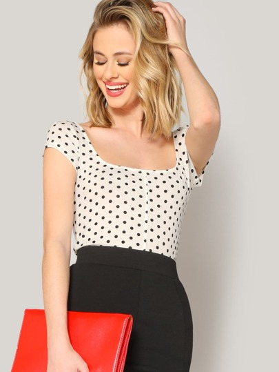 139ace7348637c Polka Dot Form Fitted Tee