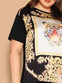 b6235bba6f Plus Tiger Scarf Print Top