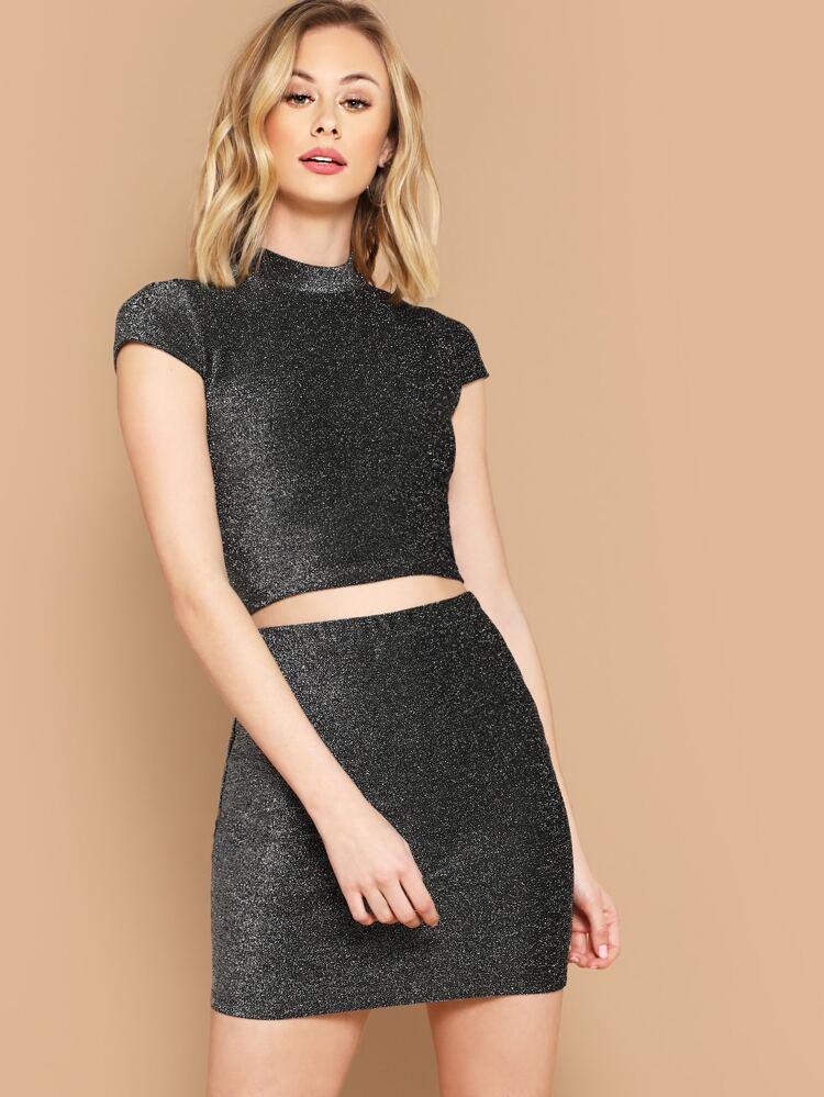 3221109652 Mock-neck Glitter Crop Top and Bodycon Skirt Set | SHEIN