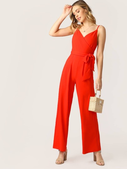 0bd019d1964c Surplice Neck Waist Tie Back Zip Wide Leg Jumpsuit