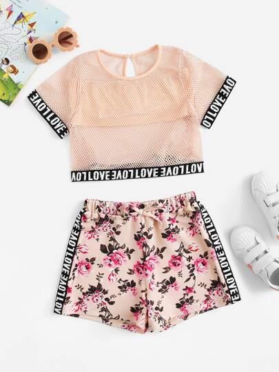 Conjunto de niñas top con malla con shorts con cordón 53c9bd40de1f