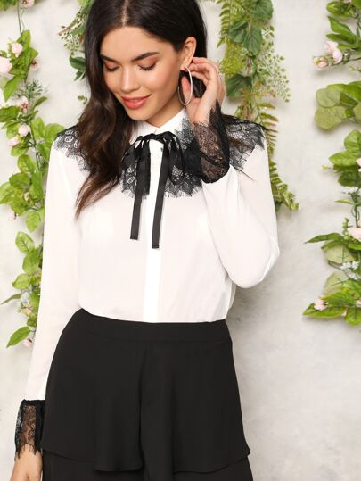 Bow Front Contrast Lace Detail Blouse 382868ad8