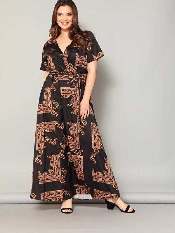 1a8762279f Cheap Plus Scarf Print Wrap Belted Maxi Dress for sale Australia | SHEIN
