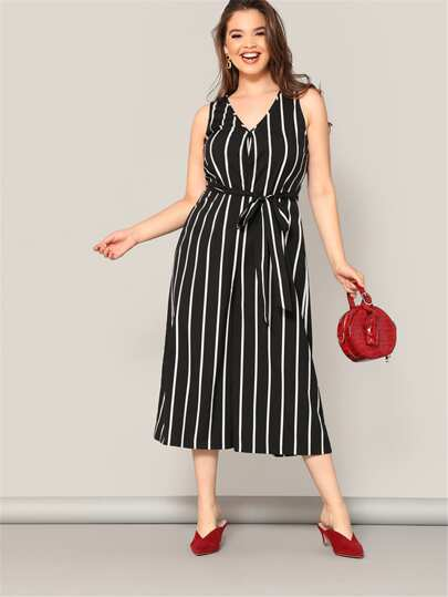 0bfe05b4f94 Plus Striped Wide Leg Jumpsuit With Belt