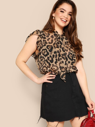 Plus Tie Neck Sheer Leopard Print Blouse 2d294bd8e