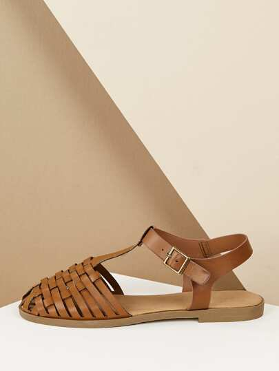 e3134744fd7ee Woven Toe Buckled Ankle Huarache Flat Sandals