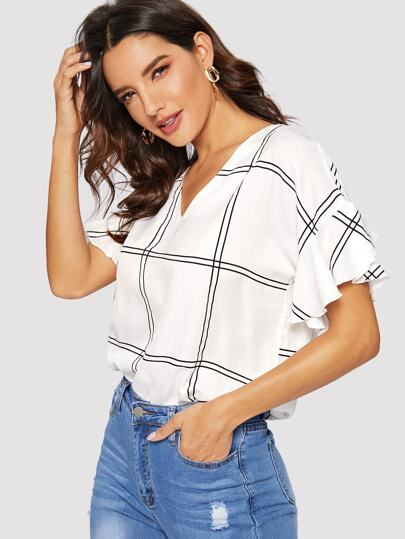7600775d42 Window Pane Plaid V-neck Blouse