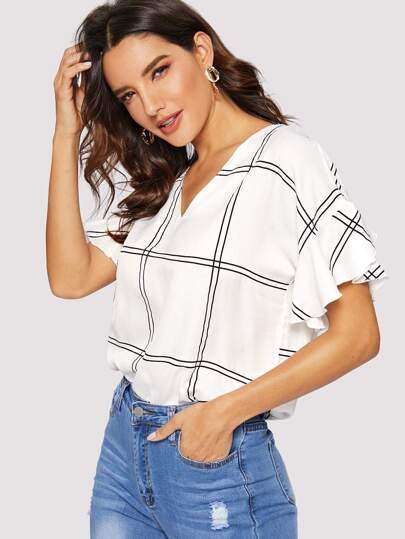 cebcebed9bb Window Pane Plaid V-neck Blouse
