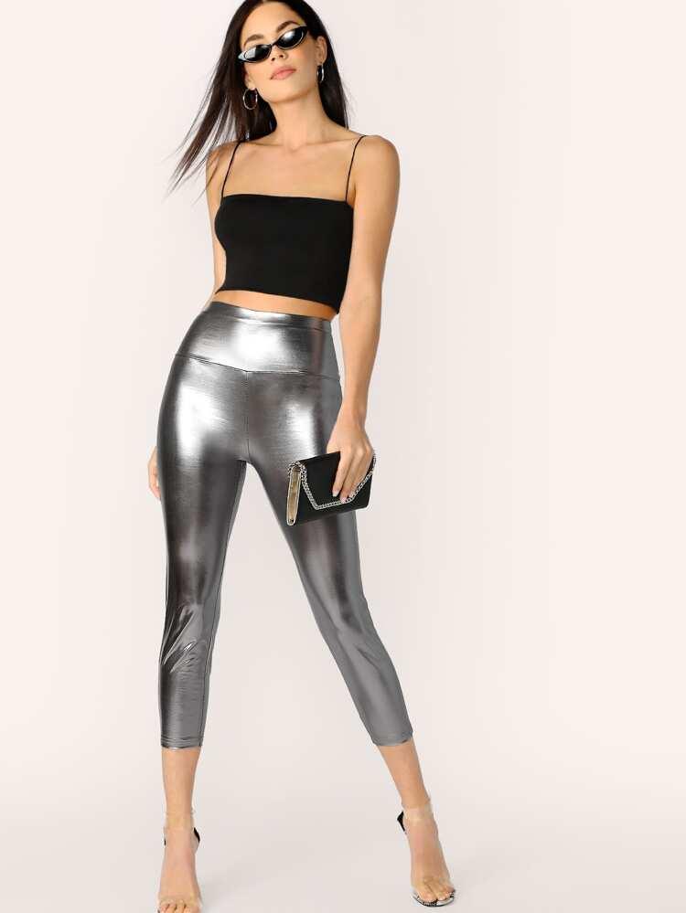 61f4fef501407 Wide Waist Metallic Leggings | SHEIN
