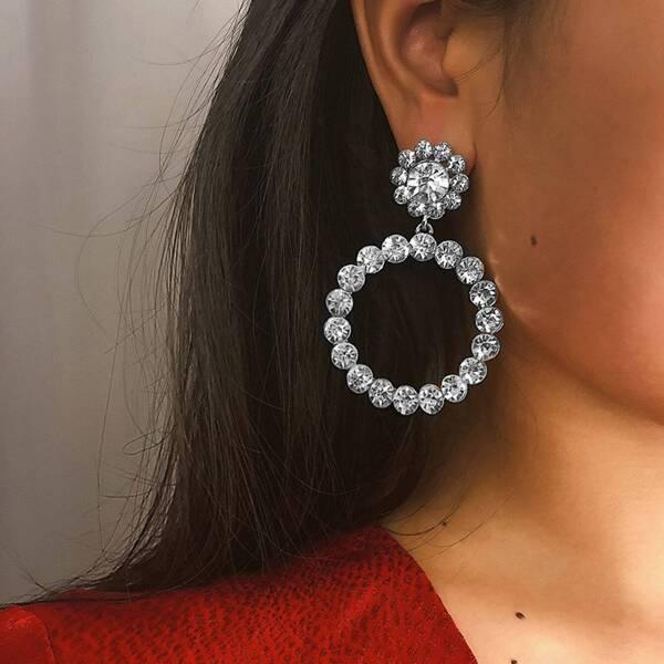 Rhinestone Decor Hoop Drop Earrings 1pair, Silver