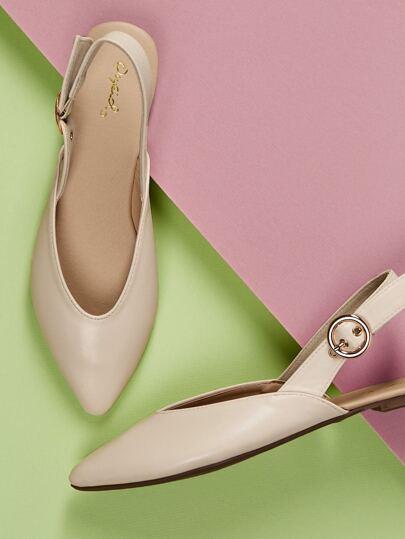 221b3a830d60 Pointy Toe Buckled Heel Strap Ballerina Flats