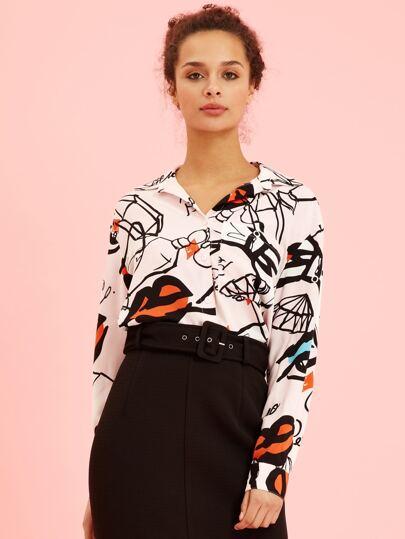 d54adb568d397 Graffiti Button Front Shirt