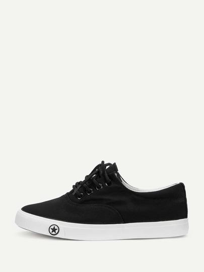 9800621e69de Lace-up Front Low Top Canvas Sneakers