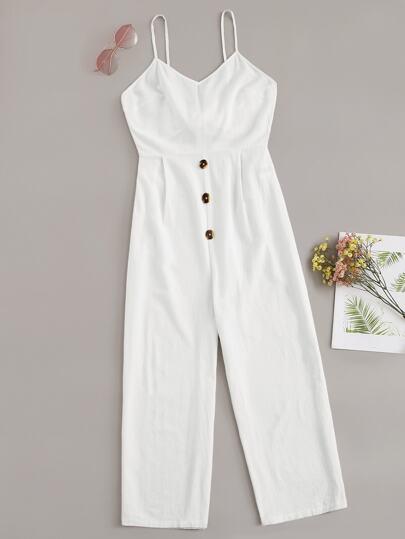 9263df39780 Knot Back Button Detail Cami Jumpsuit