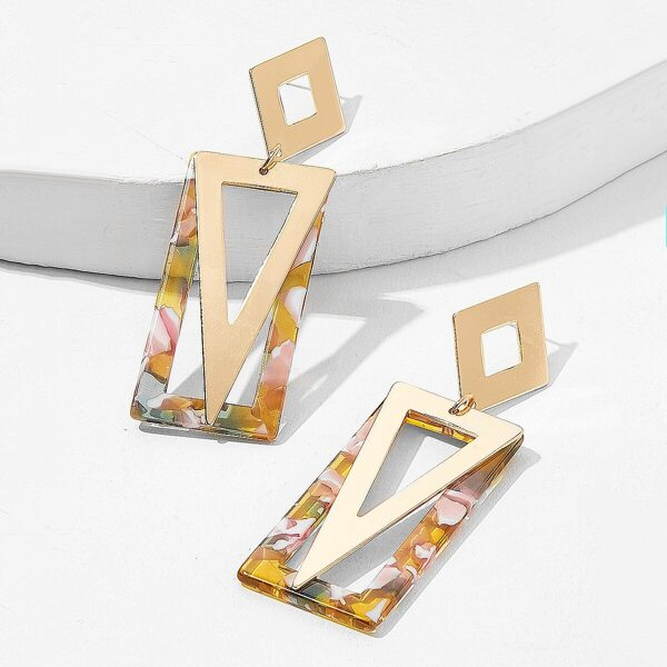 Marble Pattern Rectangle & Triangle Drop Earrings 1pair, Multicolor
