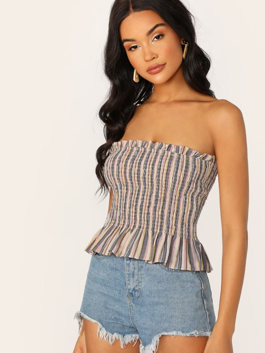 Ruffle Edge Striped Smocked Tube Top by Sheinside