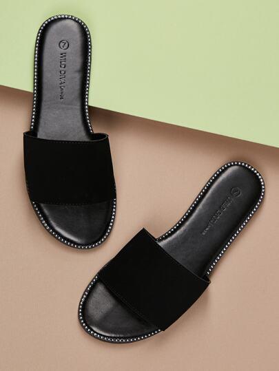 bdf0d5a2d1dbf Stud Detail Solid Band Slide Flat Sandals