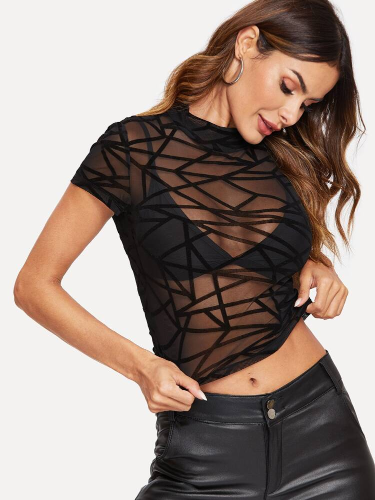 4b1534285b6 Mock-neck Sheer Geo Mesh Crop Top | SHEIN