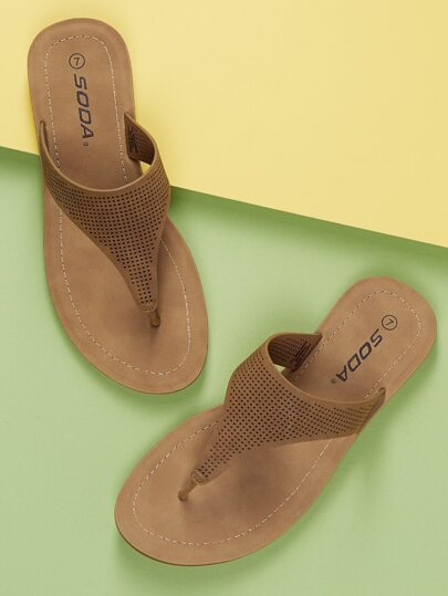ed256247e053c Perforated Thong Flat Slide On Sandals