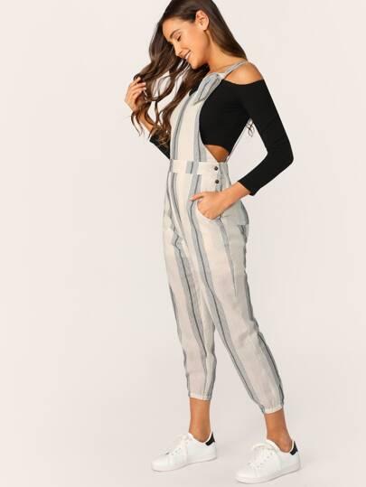 ebe5cb1b0b1 V-Neck Buttoned Sides Striped Linen Jumpsuit