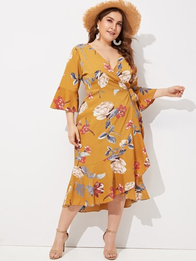 fcb21ad9ace2 Plus Floral Print Ruffle Hem Wrap Dress