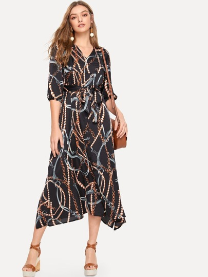 04ef6d9997 Chain Print Shirt Dress