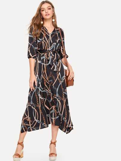 bfa6b8ee58 Chain Print Shirt Dress