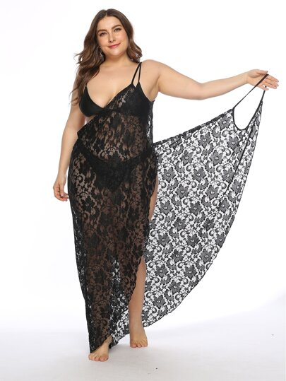 5099ff826c Plus Floral Lace Asymmetrical Hem Cover Up