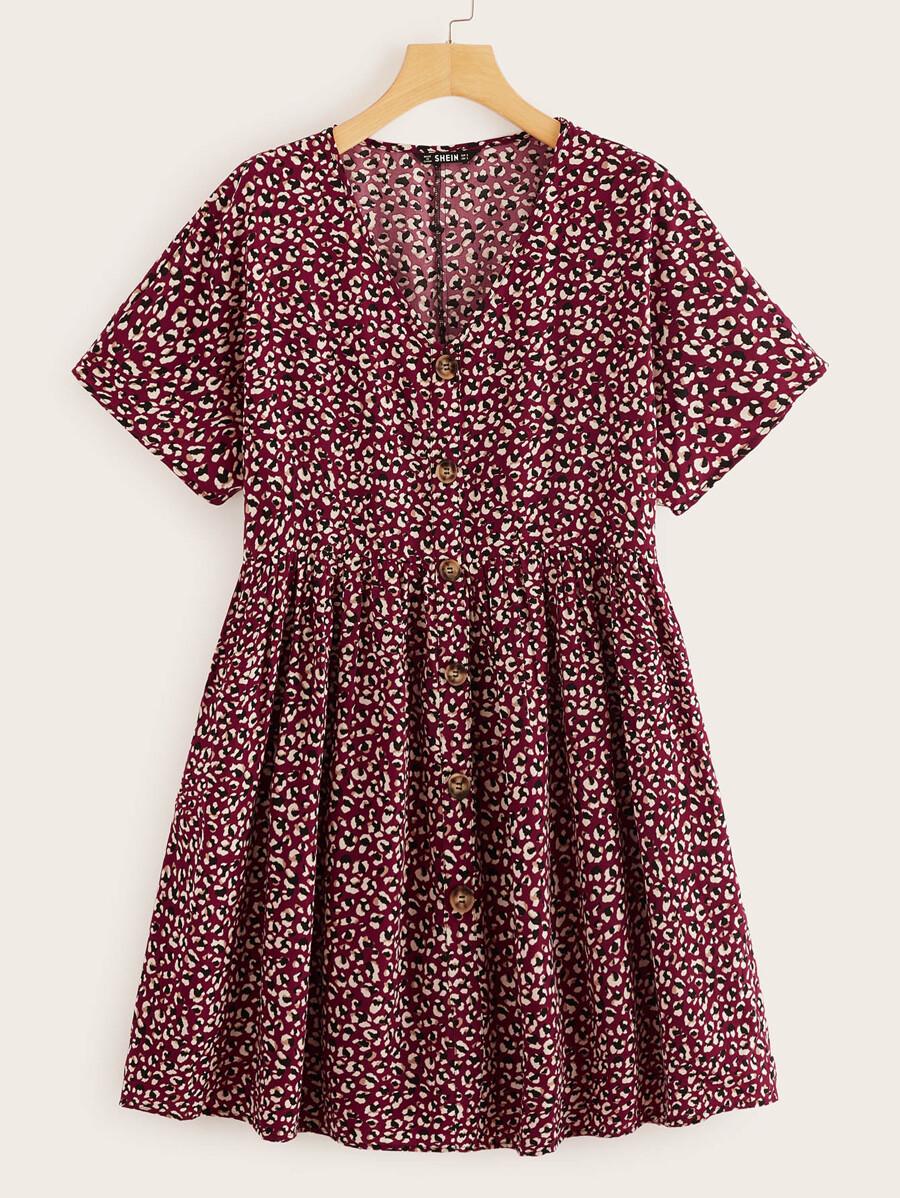 caa9906bc5 Shoptagr | Button Through Printed Flare Tea Dress by Shein