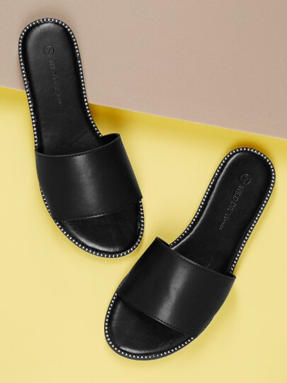 fd2609fa56b9 Stud Accents Wide Band Slip On Mule Sandals