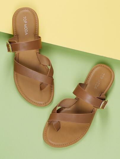 58315392095def Wrap Toe Loop Buckle Accent Slide On Sandals